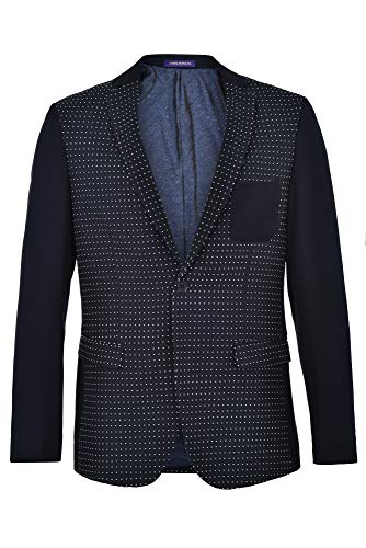 JAMES MORGAN Men's Fully Lined Patterned Fit Blazer, Polka Dot, 40 Navy