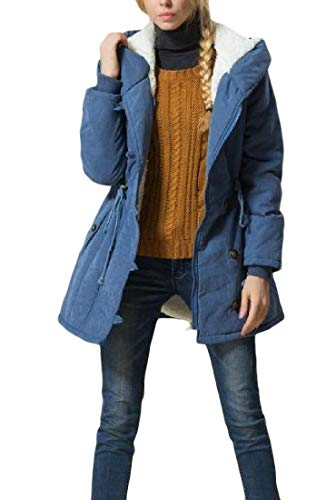 Cromoncent Women's Winter Hoodie Fleece Thick Anorak Outwear Parkas Coat Blue 2XL by Cromoncent