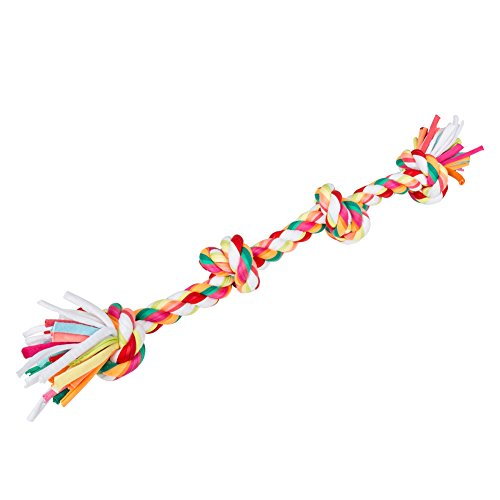 Dog Rope Toys,5ivepets Chew Rope Tug Toys For Small to Large Dogs Cotton Rope Chew Toys 4-Knots Multi-Color ()