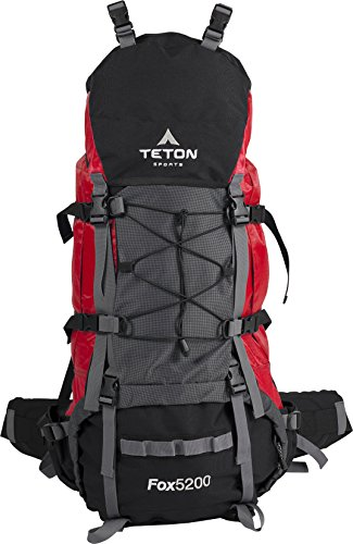 35 Internal Frame Pack - Teton Sports Fox 5200 Internal Frame Backpack – Not Your Basic Backpack; High-Performance Backpack for Backpacking, Hiking, Camping; Sewn-in Rain Cover; Red