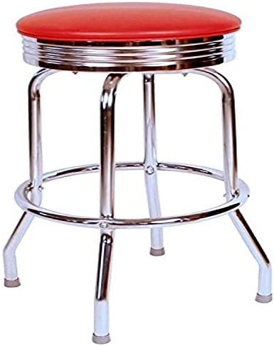 Richardson Seating Retro Chrome Swivel bar Stool with Seat Metal, 24 , Red