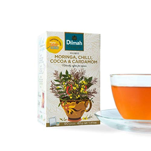 Dilmah Red Rooibos with Moringa Chilli Cocoa & Cardamom Tea - 20 Tea Bags X 8 Pack - Naturally Caffeine Free by Dilmah