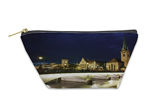 Gear New Accessory Zipper Pouch, Night Photo Fraumunster Church Bridge Over Limmat River City, Small, 5971039GN by Gear New