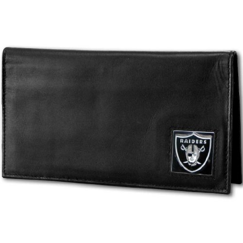 NFL Oakland Raiders Deluxe Leather Checkbook Cover (Deluxe Leather Nfl)