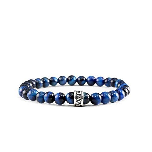 ef7f13862516 Davis pulsera Mini azul marino azul de ojo de tigre Pendientes de perlas de piedras  preciosas