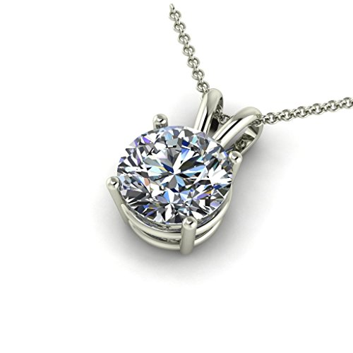 Solid 14k White Gold Pendant - Solid 14k White Gold Pendant Necklace Made with 8mm Swarovski CZ, Cable Chain (2ct, 18