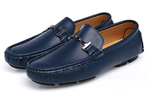 Tda Heren Wijde Fit Ruched Leer Drijvende Loafers Bootschoenen Blauw