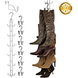 Boottique Vertical Hanging Boot Rack with Rod that Swivels and 6 Boot Hangers, Silver