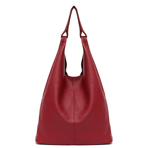 - Women's Hobo Handbag STEPHIECATH Italian Genuine Leather Slouchy Shoulder Bag Large Casual Vintage Style Tote Bags (RED)