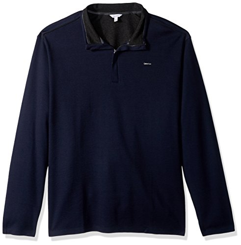Calvin Klein Men's Big and Tall Long Sleeve 1/4 Zip Solid Jacquard Knit Shirt, Cadet Navy, 4X-Large T by Calvin Klein