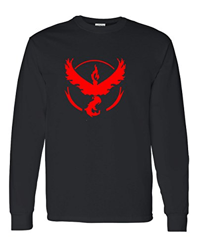 Youth Ash Gym (Pokemon Go Gym Team Valor Red Youth Long Sleeve Tee T-Shirt Black X Small)