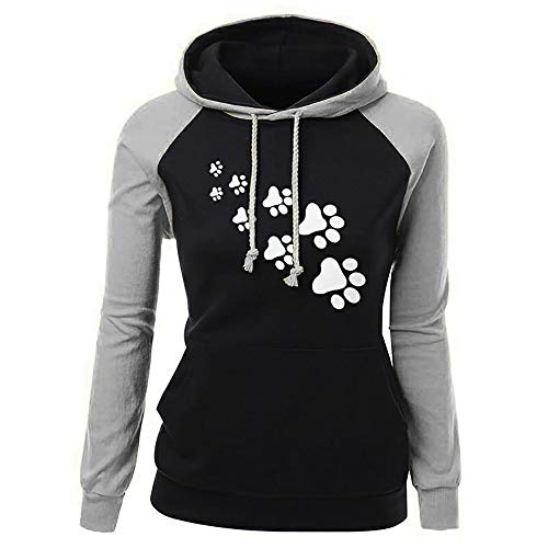 Baigoods Women Pullover Sweatshirt Fashion Plus Size Long Sleeve Cute Dog Paw Print Pocket Hooded Neck Blouse Tops