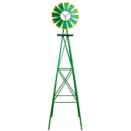 Eonmo 8FT Weather Resistant Yard Garden Windmill Green