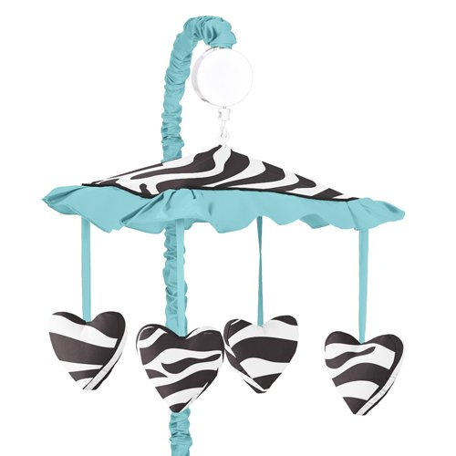 Turquoise Funky Zebra Musical Baby Girls Crib Mobile by Sweet Jojo Designs