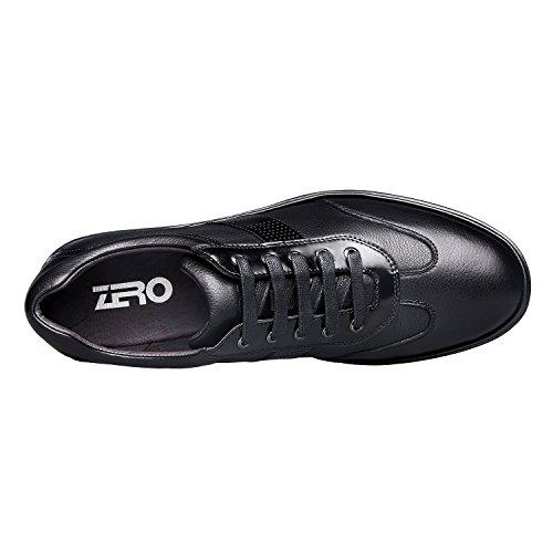 ... Zro Menns Fritid Skinn Leiligheter Sko Lisse-up Sneaker Svart ...