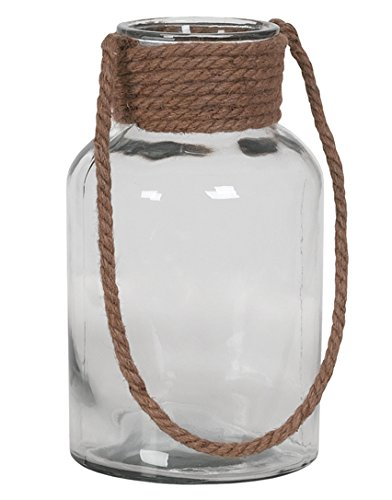 Hill's Imports Decorative Glass and Rope Lantern, 7-Pound, Clear Hill's Imports 7-120GLS/1CL