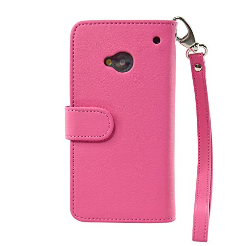 Navor Folio PU Leather Wallet Case for HTC One With Removable Strap (Hot Pink)