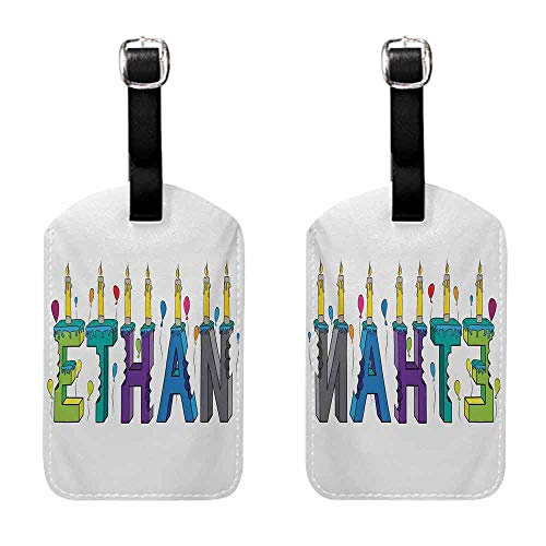 Gift for Travelers Ethan,Celebration Themed Candles and Bitten Cake Popular Male Name Birthday Party Image,Multicolor Set of 2