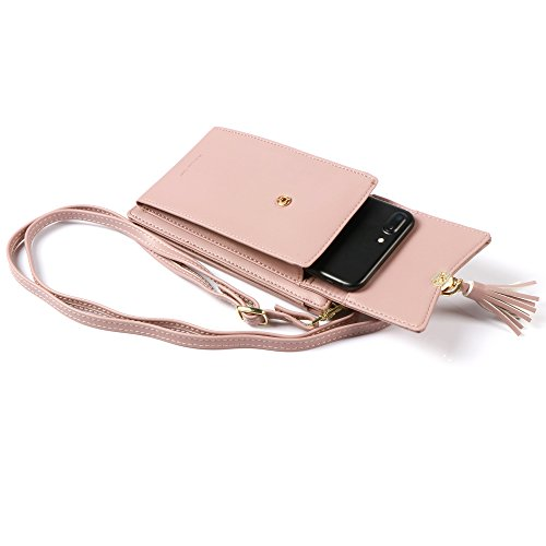 Messenger Holder Pink Cards Bag Small Women Wallet Purse for Crossbody Checkbook Credit Bag Cellphone RqgpXW