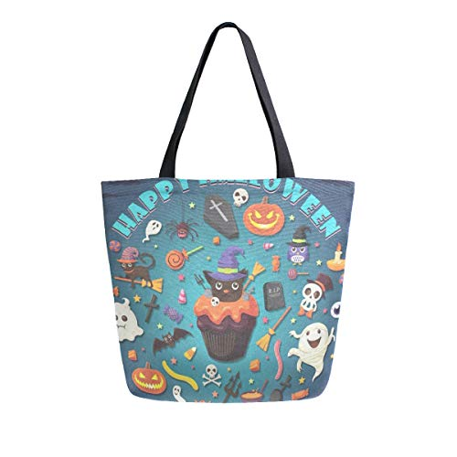 Large Tote Bags Vintage Halloween With Cupcake Travel Lightweight Portable Organizer Storage Shoulder Canvas Bag for -
