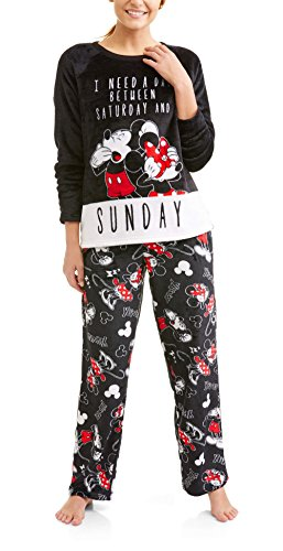 86e50bbf37 Richard Leeds International Disney Women s Mickey Mouse Plush Minky 2 Piece  Pajama Set (L 12