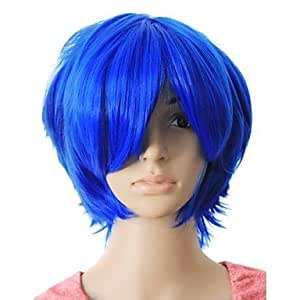 KAifaj Capless Top Grade Quality Synthetic Blue Color Short Hair wig