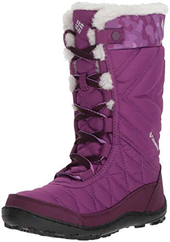 (Columbia Girls' Youth Minx MID III Print Omni-Heat Snow Boot, Plum, Crown Jewel, 7 Regular US Big Kid)