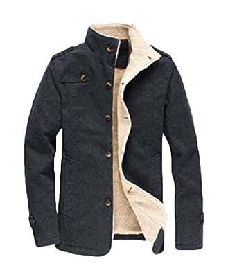 KLJR Men Cotton Solid Lamb Winter Warm Jacket Coat for