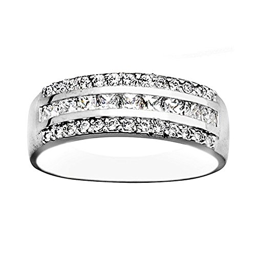 Bague 18k or blanc cubique bandes de zircone [AA7150]