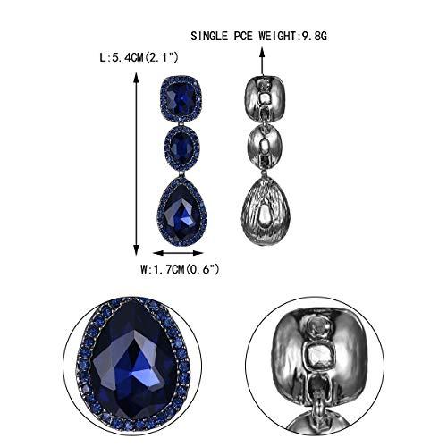 Aureole Nero Faith Ever Moda Rhinestone Pendenti Orecchini Cristallo Blu Festa Goccia Sposa fondo Pf8xPwqr
