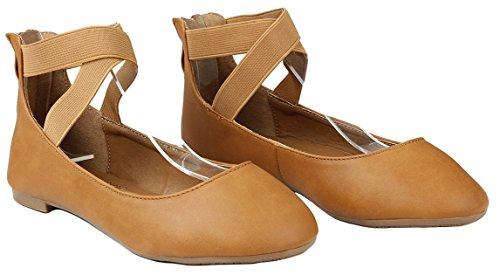 Kvinnor Korsmönstrad Elastisk Rem Rund Tå Tillbaka Zip Komfort Dagdrivare Balett Klänning Flats Tan Pu_19