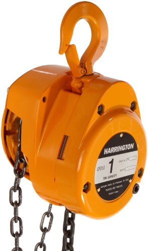Harrington CF Hand Chain Hoist, Hook Mount, 1 Ton Capacity, 10' Lift, 14.6