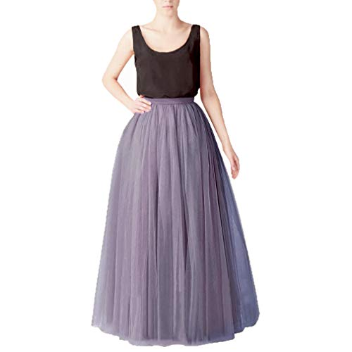 WDPL Bridal Women's Long Tulle Skirts Layered Puffy Full Length Tutu Petticoat Skirt (X-Small, Dusty Purple)]()