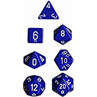 Chessex D7-Die Set Dice Opaque Polyhedral (7 Dice in Display) Dice, Blue/White