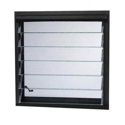 (Aluminum Jalousie Utility Louver Windows, 36 in. x 18 in., Bronze, 4-Slat)