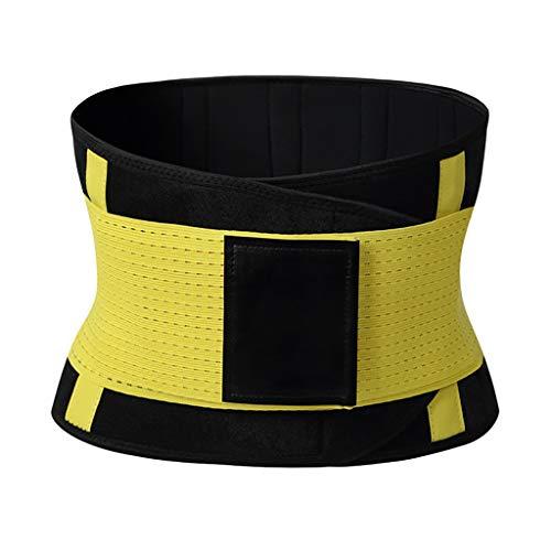 CapsA Waist Trainer Belt Waist Cincher Trimmer Slimming Body Shaper Sauna Belt Power Sweat Trimmer Slimming Shapewear Yellow ()