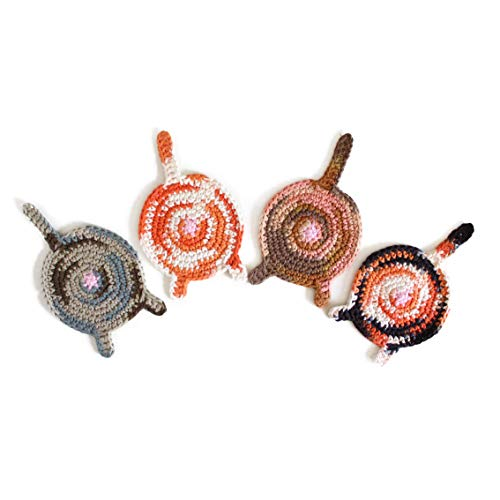 Handmade crochet cat butt coasters by Geekirumi! - Cotton yarn drink mats - Calico, tortie, orange tabby and bengal (set of 4) ()