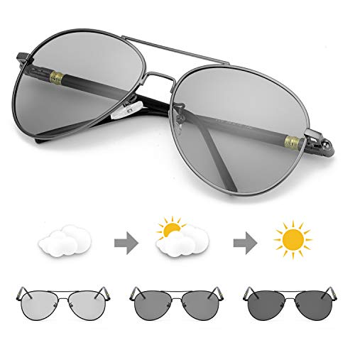 - TJUTR Photochromic Pilot Sunglasses for Men with Polarized Lens for Driving - UV400 Reduce Eyes Fatigue (Metalgun Frame/Grey Photochromic Lens)