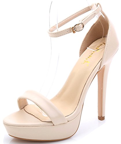 YooPrettyz Women Elegant Ankle Strap Platform Pumps Classic Dress Sandals Model Shoes Nude 6