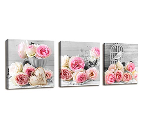 Wall Decor for Bedroom Red Rose Flowers Gray Book Canvas Wall Art Pictures Canvas Prints for Home Decorations Ready to Hang Set of 3 Panels