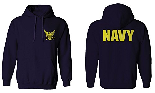 US Navy Seal United States of America American Combat Soldier Front and BackHoodie (Navy, Large)