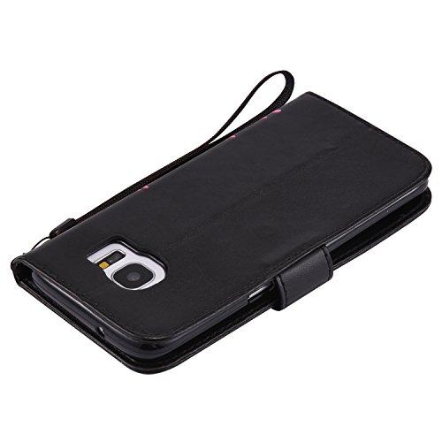 Funda Samsung Galaxy Note 4 Case, Ecoway pintado modelado Embossing Cuero PU Función Stand Fundas protectoras con tarjeta Slot Holder Carpeta de diseño de libro Desmontable correa de mano Función de S negro