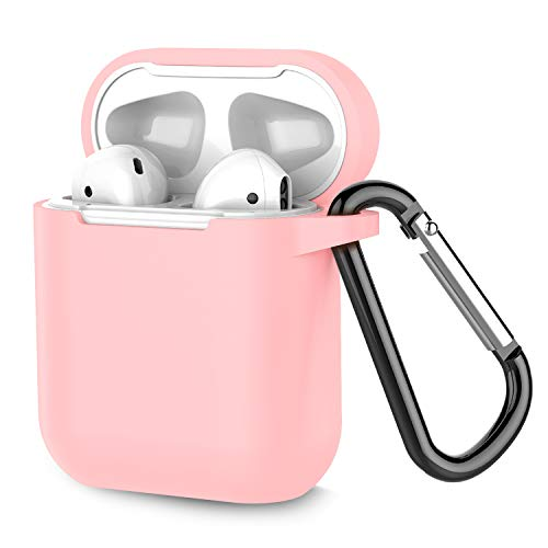 (Airpods Case, Coffea AirPods Accessories Shockproof Case Cover Portable & Protective Silicone Skin Cover Case for Apple Airpods 2 &1 (Front LED Not Visible) - Pink)