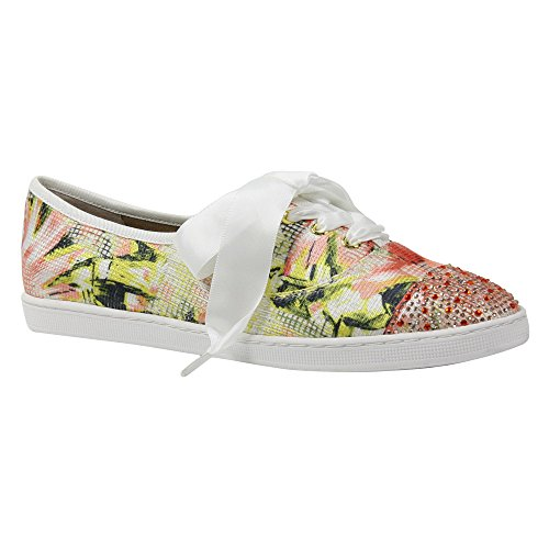 Multi Floral Renee J Geometric Fabric Asian Coral Sneaker Schooner Women's Twx8XC