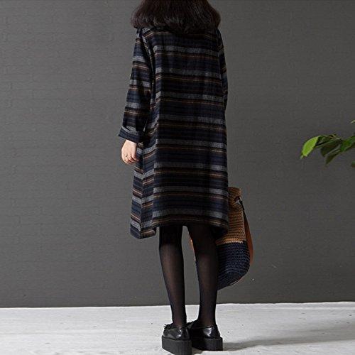 Casual Print Dress Size Cotton Women's Coffee Sleeve Black Pockets Dress Mini with Plus Long Shirt Striped Celmia 8CHTnqw8
