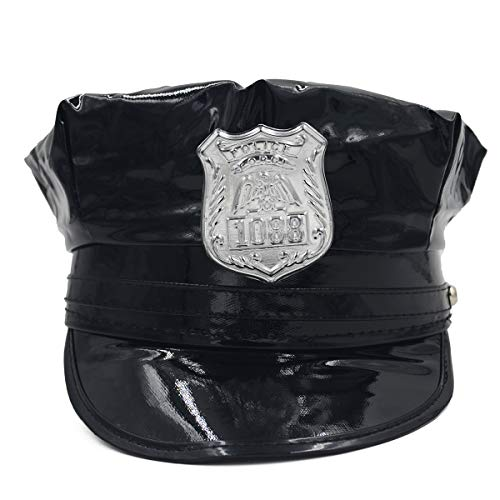 milishgarment Police Cop Hat Cap Costume Accessory Party Black Policeman Hat Cap for Women ()