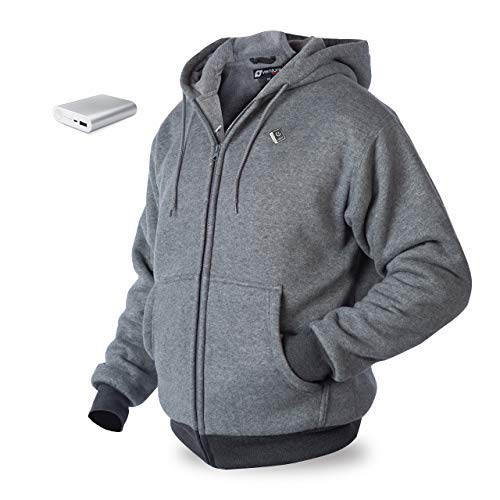 Venture Heat Heated Hoodie with Battery 12 Hour - The Transit Polar Fleece Heated Hoodie for Men, Heated Sweater for Women (X-Small, Gray)