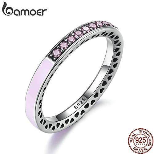 Zozu BAMOER 100% 925 Sterling Silver Radiant Hearts Light Pink Enamel & Clear CZ Finger Ring Women Mother Gift Jewelry PA7603 (9)
