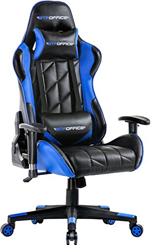 Gaming Chair Racing Style Office Ergonomic Conference Executive Manager Work Chair Leather High Back Adjustable Swivel Computer Desk Task Chair Tilt E-Sports Chair with Adjustment Headrest and Lumbar