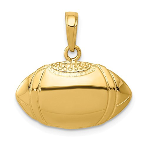14k Yellow Gold Football Profile Pendant Charm Necklace Sport Fine Jewelry For Women Gift Set ()